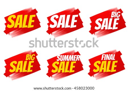 Seasonal sale and discount. Original sketch handmade, made of acrylic or alkyd paint. Rough brush strokes. Ideal for labels, price tag or sticker in the window or in product packaging.