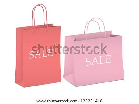 Seasonal sale - two shopping bags.Raster version - stock photo
