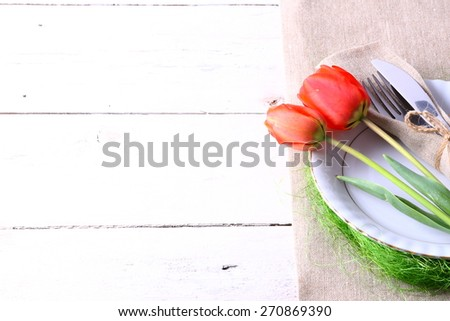 Seasonal table with cutlery - stock photo