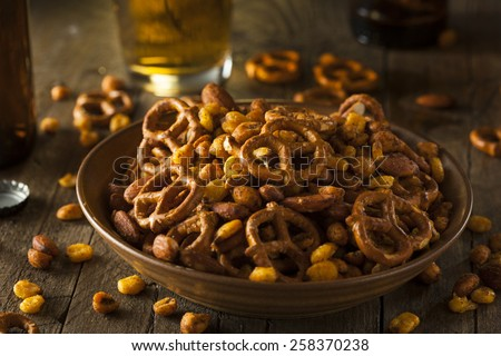 Seasoned Pub Snack Mix with Nuts and Pretzels - stock photo