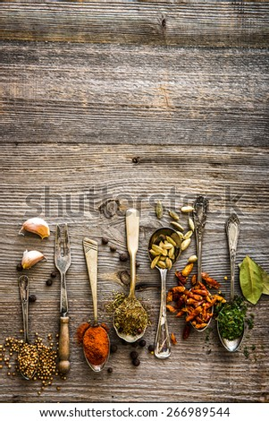 seasonings and spices in the spoons on a brown wooden table - stock photo