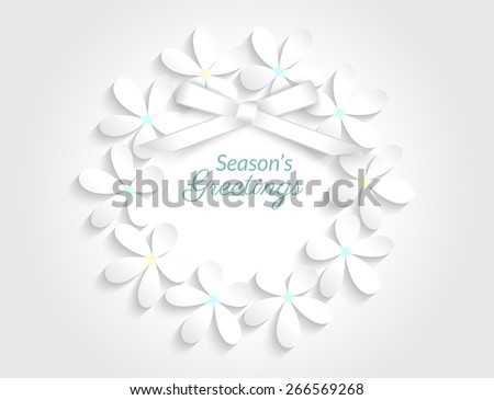 Seasons greetings white round card with realistic ribbon. Template illustration. Free font Lato and Parisienne - stock photo