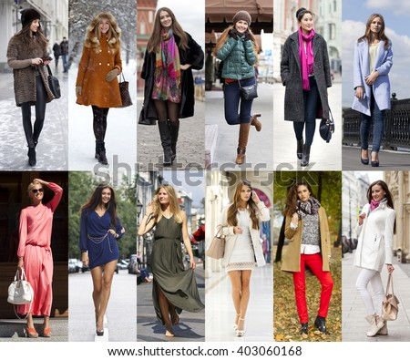 Seasons, twelve months. Twelve different women in seasonal clothes for each month of the year - stock photo