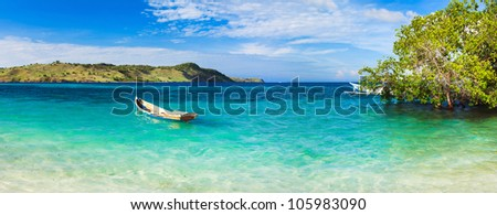 Seaspace panorama. Boat on the foreground - stock photo