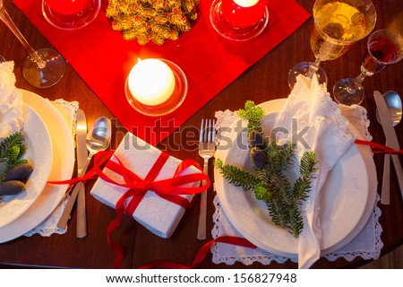 Seat at the Christmas Eve table - stock photo