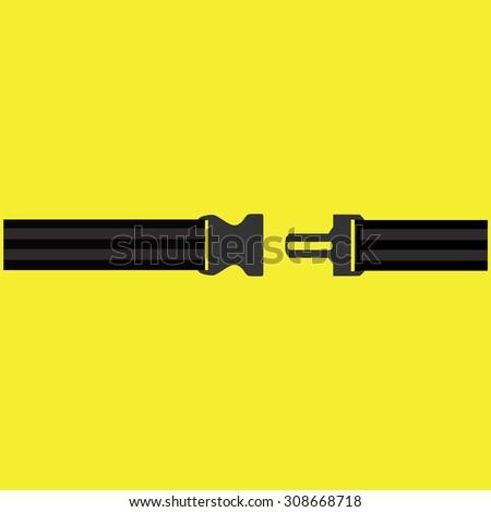 Seat belt on yellow background isolated. Safety belt symbol, security belt sign. - stock photo