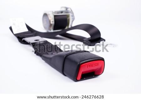 Seat belt parts on white background. - stock photo