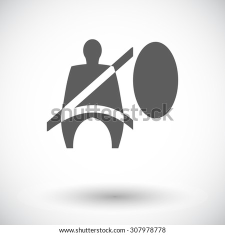 Seat belt. Single flat icon on white background.  illustration.