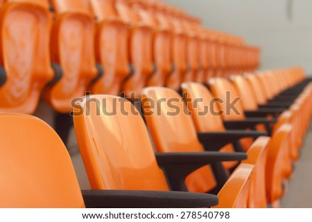 Seat grandstand in an empty stadium - stock photo
