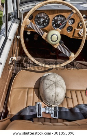 Seat of classic car. - stock photo