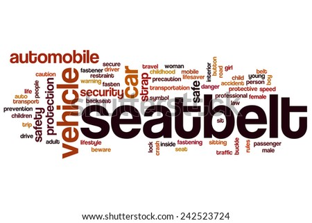 Seatbelt word cloud concept with vehicle belt related tags - stock photo