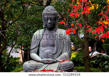 Seated Buddha statue at the garden in Tokyo, Japan.