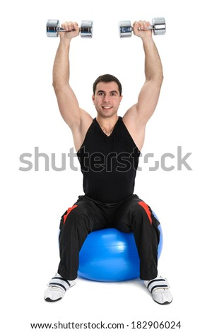 Seated Dumbbell Shoulder Press on Fitness Stability Ball, phase 2 of 2