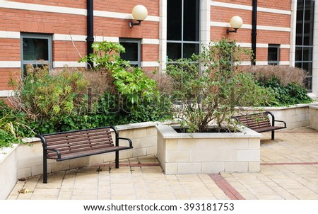 Seating and Plants in an Urban Park
