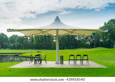Seating area at golf course.
