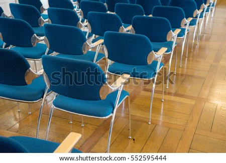 Seating with blue chairs / seatings / chairs