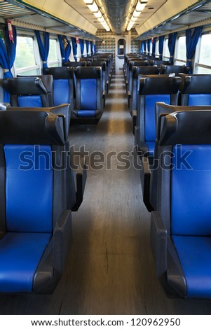 seats and interior of wagon train