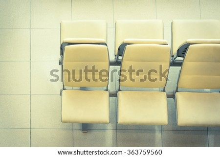 Seats in rest area of airport in thailand - vintage filter - stock photo