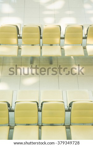 Seats row in rest area of airport in thailand