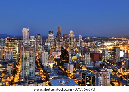Seattle Aerial Skyline at Dusk