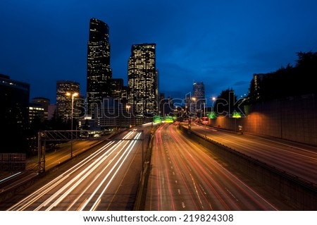 Seattle at Night. Downtown Seattle, Washington over Interstate 5 during the commute hours.