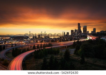 Seattle at sunset - stock photo