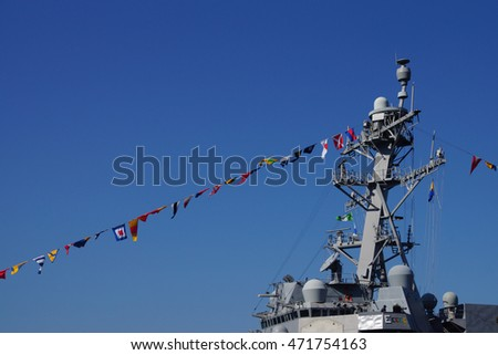 SEATTLE - AUG 4, 2016 - Bridge and signal flags of the USS Gridley  (DDG 101) guided missle destroyer, docked in Seattle for Fleet Week
