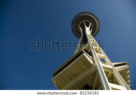 SEATTLE - AUGUST 01 : Seattle Space Needle on August 01, 2011 in Seattle. The Space Needle is the most visited tower in Seattle. - stock photo