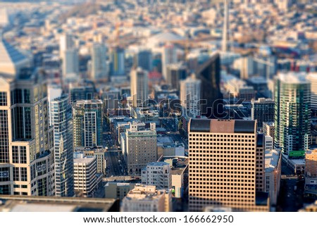 Seattle bird's-eye view, Tittle shift focus effect - stock photo