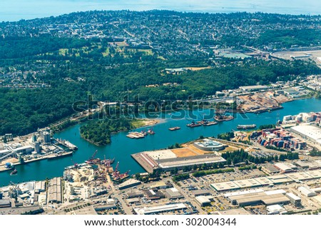 seattle city  aerial view taken from airplane .some look like abstract art.