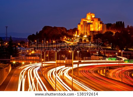 Seattle City Highway With Light Trails. - stock photo