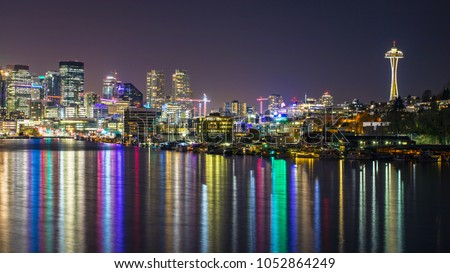Seattle City Lights Are Reflected From The Light.