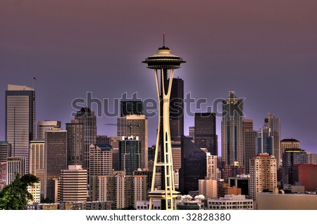 seattle city skyline with downtown buildings at dusk