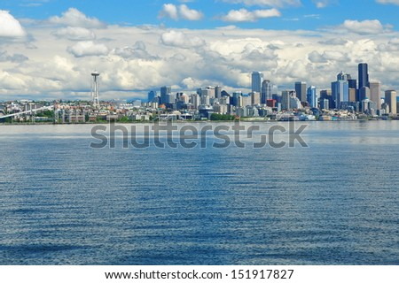 Seattle city skyline with ocean in the foreground