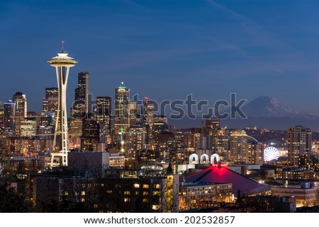 Seattle city view at night