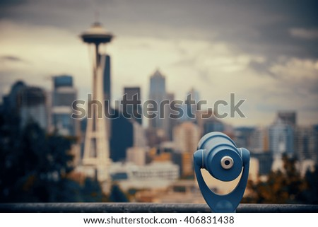 Seattle city view from Kerry Park with urban architecture and telescope. - stock photo