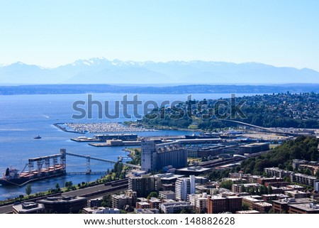 Seattle cityscape and ocean gulf