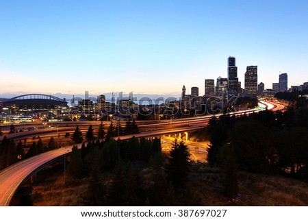 Seattle Cityscape at Dust, Washington