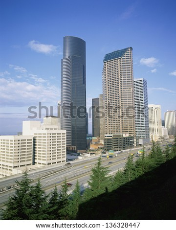 Seattle cityscape with highway, WA