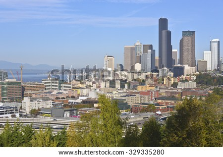 Seattle downtown buildings architecture and freeways Washington state. - stock photo