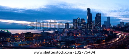 Seattle downtown panorama in the night, view from the Jose Rizal Park - stock photo