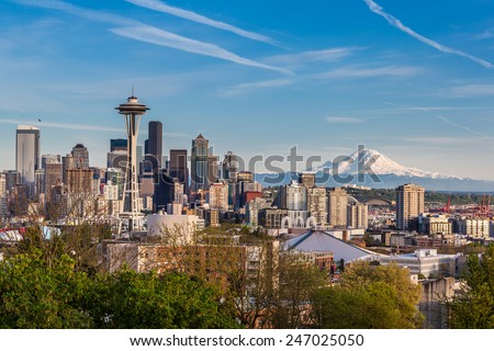 Seattle downtown skyline and Mt. Rainier, Washington. - stock photo