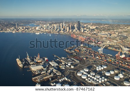 Seattle, Elliott Bay and the Port from above West Seattle - stock photo
