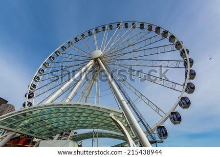 Seattle Ferris Wheel Ride - stock photo
