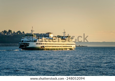 Seattle Ferry at Sunset - stock photo