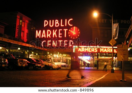Seattle Fish Market at Night - stock photo