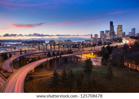 Seattle Highways and Skyline at Sunset - stock photo