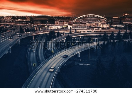 Seattle Highways Intersection in Reddish Blue Color Grading. Seattle, Washington, United States.