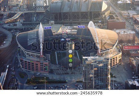 SEATTLE - January 13th: CenturyLink Field, Seattle on January 13th, 2015. It was originally called Seahawks Stadium but was renamed Qwest Field on June 23, 2004 - stock photo