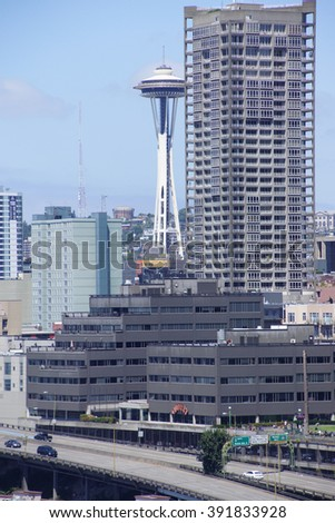 SEATTLE - JUL 20, 2015 - Seattle downtown and the Space Needle tower,  Seattle, Washington - stock photo